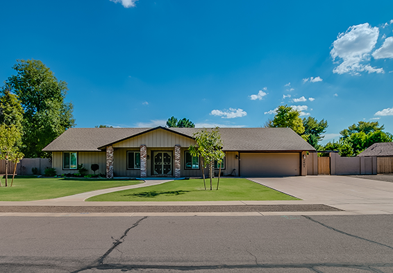 This is a beautiful Sunburst Farms horse property in Tempe Arizona with a new acre sized lot and direct access to horse bridal trails.